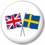 Great Britain and Sweden Friendship Flag 25mm Pin Button Badge